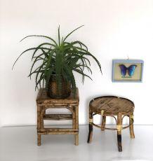 Duo portes plantes bambou/rotin vintage