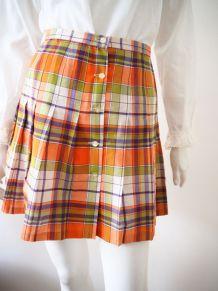 Mini jupe trapèze plissée motifs tartan  boutonnée 70's