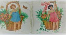 2 housses de coussin peintes à la main années 30