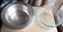 Plat de service 2 en 1 - métal argenté et pyrex