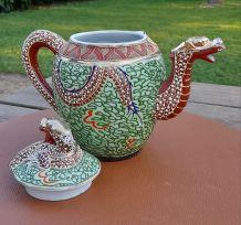 Théière & sucrier porcelaine japonaise  forme dragon, Kutomi