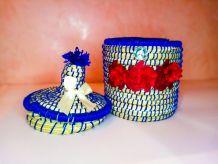 """""""corbeille""""bleu decoratif  fait main berber azilal""""panier"""""""
