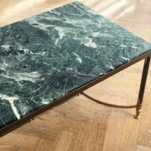 Table marbre vert Alpi verde patiné vintage