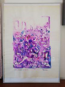 Encre sur papier Soirée Cabaret du 9-6-73 - REJAS PABLO