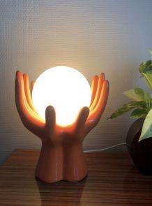 Lampe mains orange en céramique en très bon état