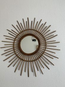 Grand miroir vintage 1960 soleil rotin - 78 cm