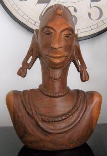 Statue buste femme art Africain ethnique masaï ? Peuls ?