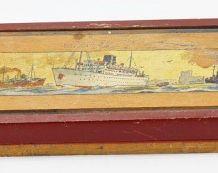 Ancien plumier en bois bateau