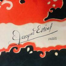 Echarpe vintage Jacques Estérel en soie 70's
