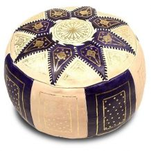 Pouf cuir fushia - fait main Maroc D 40cm x H 25cm
