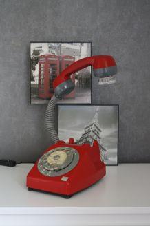 LAMPE À POSER RECYCLAGE TÉLÉPHONE VINTAGE ROUGE