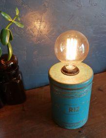 """Lampe vintage lampe de chevet lampe de bureau """"Riz Bleu"""""""