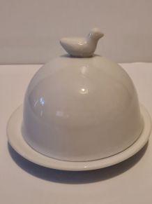 Beurrier Porcelaine blanche décor Oiseau