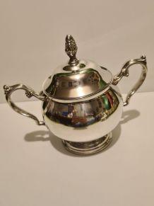 Sucrier métal argenté Style Rocaille