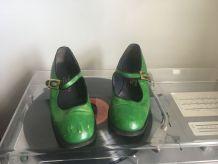 Escarpins en cuire vert FIORENTINA, made in Italy , T38