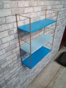 Etagere string style tomado 1960 metal 1 bleu ciel et 2fonçé