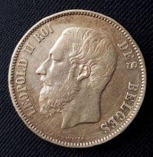 Lot de 3 pièces 5F & 1F Léopold II Roi des Belges