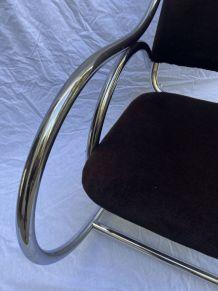 Fauteuil/rocking chair velour marron - Travail Francais
