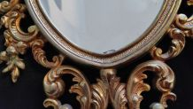miroir rocaille en métal doré