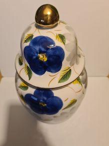 Pot porcelaine peint à la main décor floral