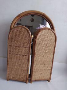 Miroir triptyque en bambou