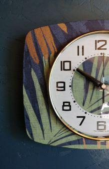 """Horloge vintage pendule murale silencieuse """"Végétal"""""""