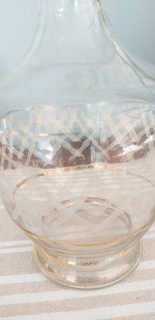 Carafe  verre ancienne avec bouchon