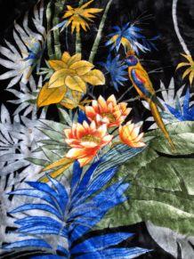 Superbe couverture noire motif tropical