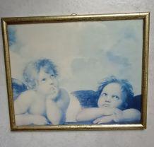 Tableau cadre sous verre anges reproduction
