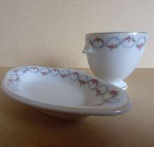 Service porcelaine coquetier et son ravier