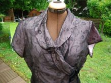 Robe voil paillette col croisé doublée mauve manches courtes
