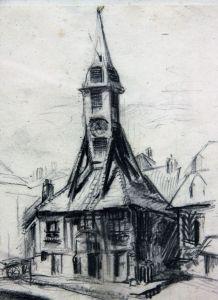"""Dessin mine de plomb Eugène Véder """"Eglise d'Honfleur""""."""