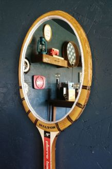 "Miroir mural raquette miroir ovale ""Hilton Pierre Barthès"""