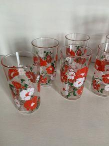 Service à orangeade vintage 6 verres + carafe