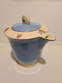 Théière en faïence de Digoin Sarreguemines bleu décor floral