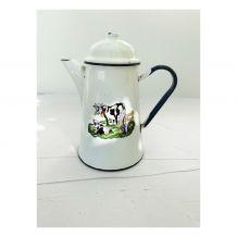 Cafetière/Théière Vintage émaillée décor vaches