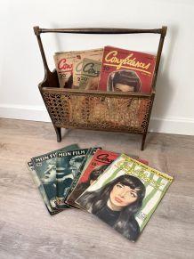 Porte-revues vintage bois et cannage