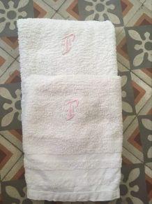 Paire serviettes éponge années 50/60.