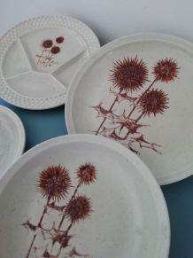 Collection d'assiettes en grès décor chardons Sarreguemines