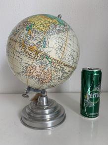 Globe vintage 1950 terrestre Girard Barrère crème - 30 cm