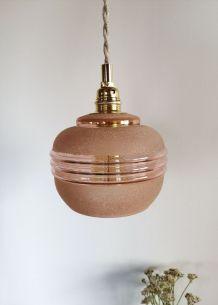 "Lampe Baladeuse vintage suspension en verre sablé ""Rose"""