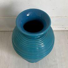 Vase en céramique bleu vintage 50's