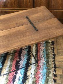 Table basse upcycling bois et métal noir