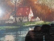 tableau pastel g martel 19 eme paysage tbe