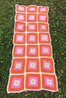 Couverture en laine en crochet - Années 70