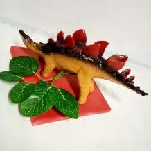 lampe dinosaure, veilleuse stégosaure rouge