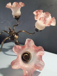 lustre en laiton et verre dépoli rose et blanc