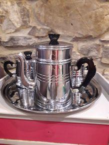 service à café en cuivre chromé et bakélite