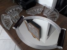 plateau serviteur vintage 1930 verre et miroir