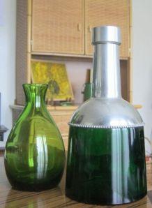 Ancienne carafe en verre et métal + cadeau